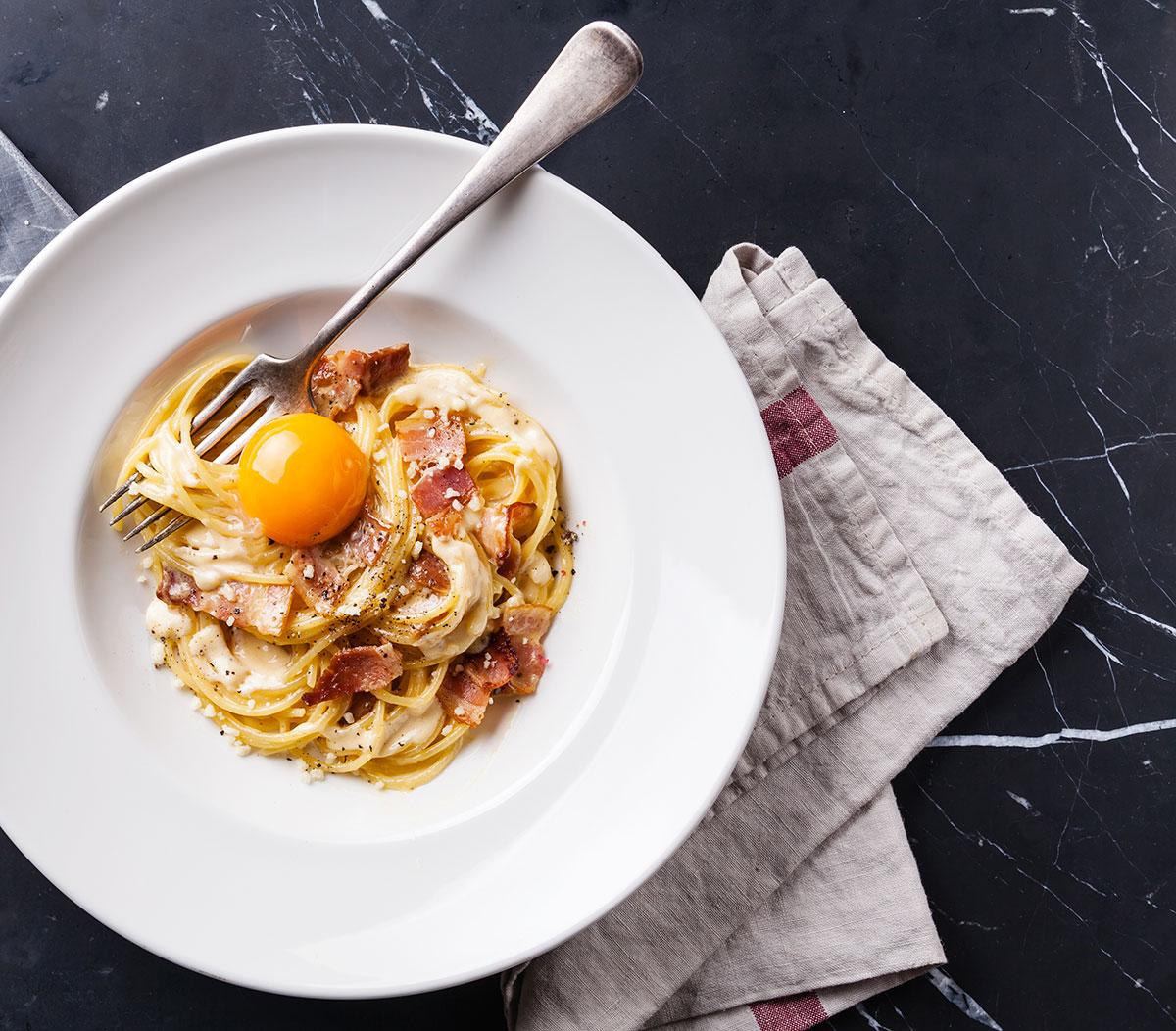recette de spaghettinis la carbonara selon bob le chef. Black Bedroom Furniture Sets. Home Design Ideas