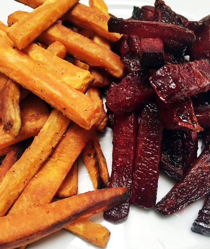 Frites de patate douce et betterave
