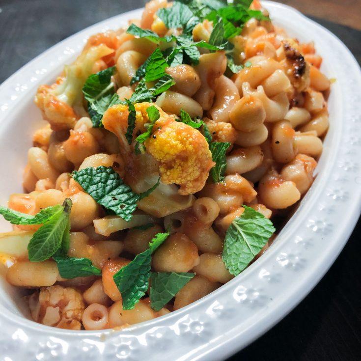 Macaroni au pois chiche et chou-fleur